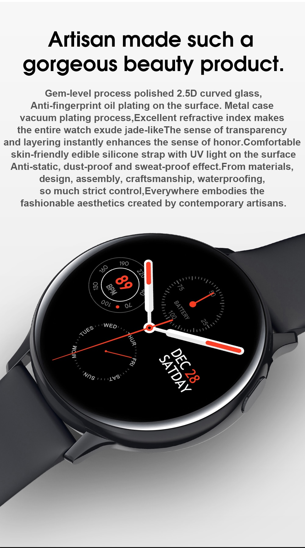 IP65 Waterproof Smart Watch with Touch Screen